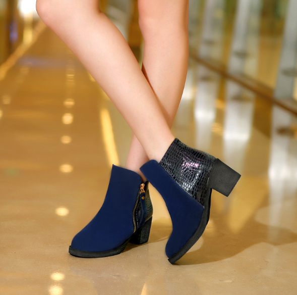 Blue Suede Chunky Heel Zipper Business Boots