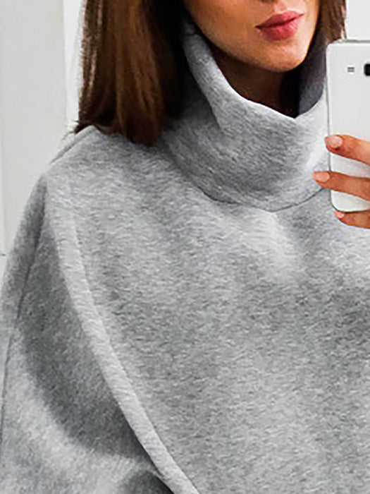 Asymmetric Cotton-blend Casual Turtle Neck Hoodies & Sweatshirt