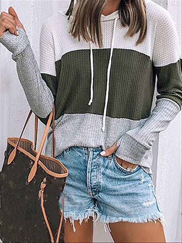 Casual Daily Autumn Outside Knitted Hoodie Top
