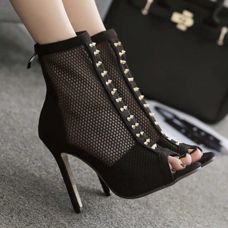 Women Rivet Embellished High Heeled Booties Sexy Fishnet Shoes