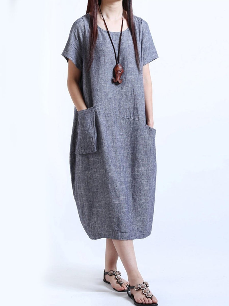 Round Neck  Patch Pocket  Plain  Cotton/Linen Maxi Plus Size Dress