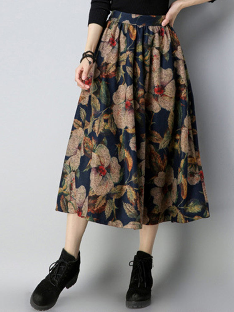 Fashion High-rise Vintage Printed Skirt