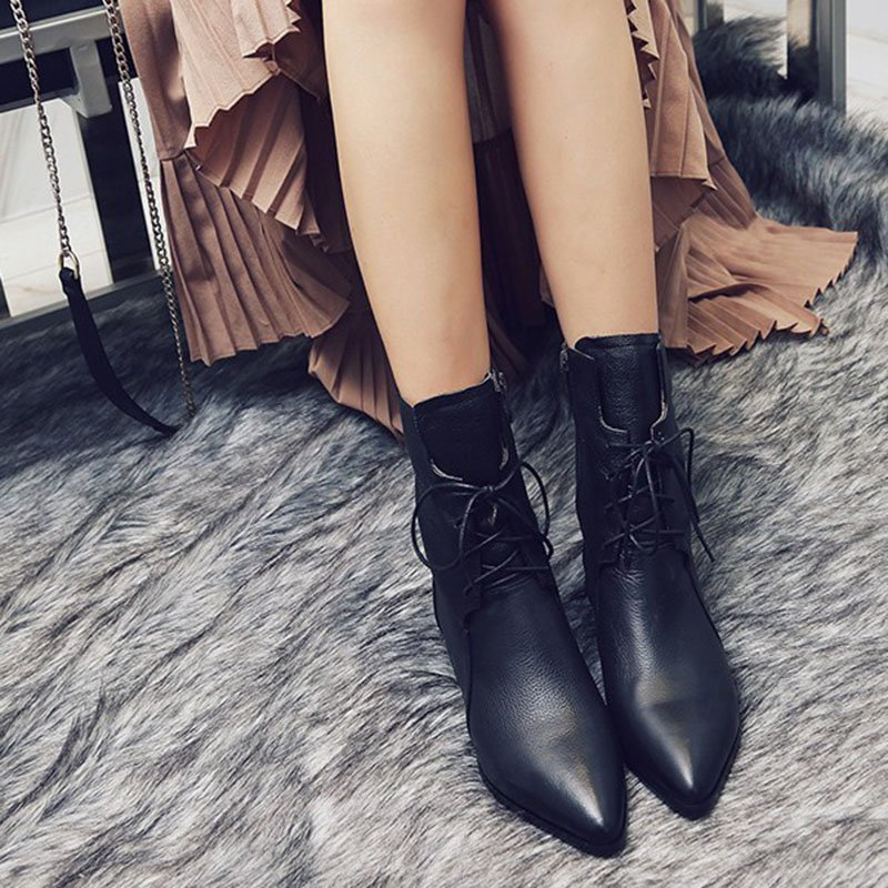 Ankle Zipper Women Pointed Toe Low Heel Boots
