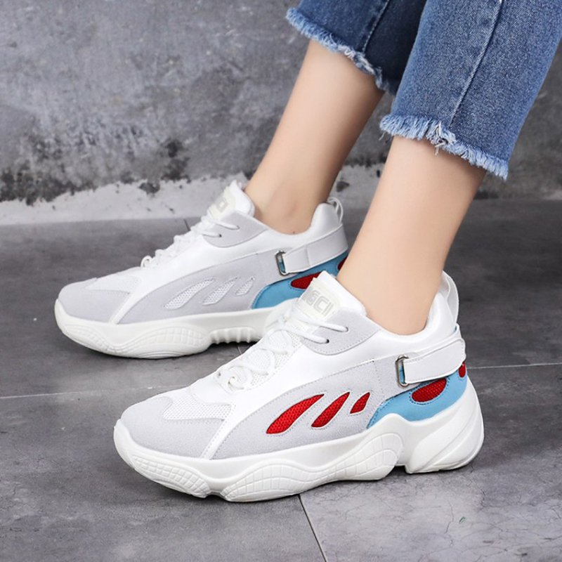 Women Mesh Fabric Athletic Shoes Lace-Up Sneakers