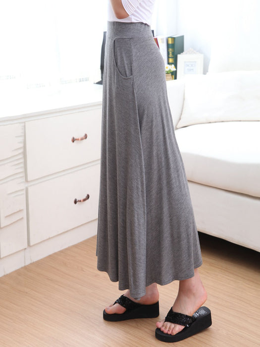 Casual Solid Pockets Swing Skirt