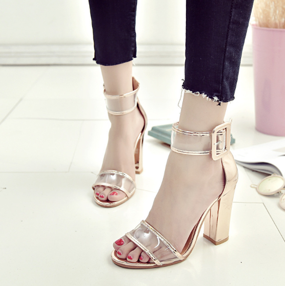 Plus Size Buckle Hollow Out Shoes Casual High Heel Suede Sandals