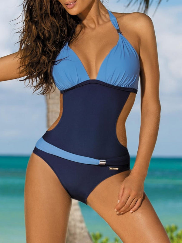 Halter Padded Wireless Color-block One-piece Swimsuit