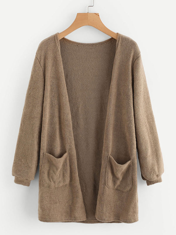 Long Sleeve Knitted Casual Solid Cotton Cardigan