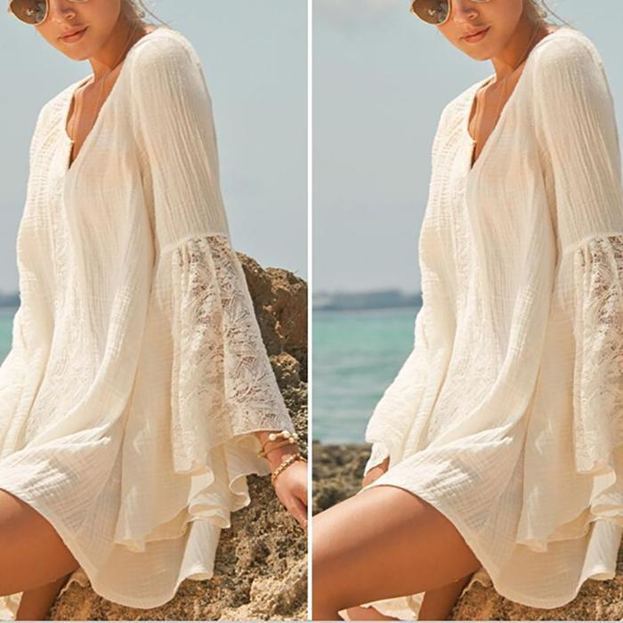 Bohemia Loose Plain V Collar Speaker Sleeve Beach Dress Vacation