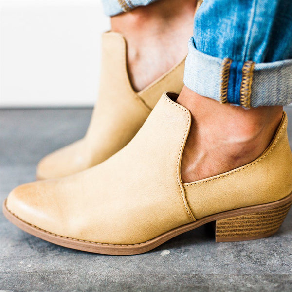 Women Spring Ankle Artificial Leather Vintage Cut Out Low Heel Boots
