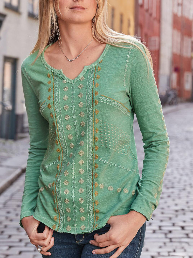Long Sleeve V Neck Casual Shirts & Tops