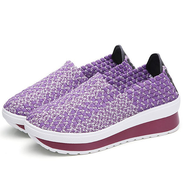 Breathable Knitted Fabric  Sneakers Slip On Platform Shoes