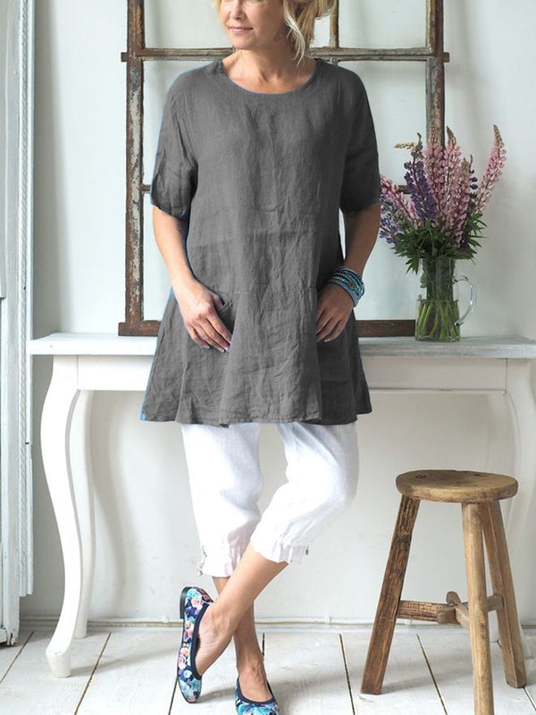 Women Linen Causal Tops Solid Crew Neck Short Sleeve Simple Blouse
