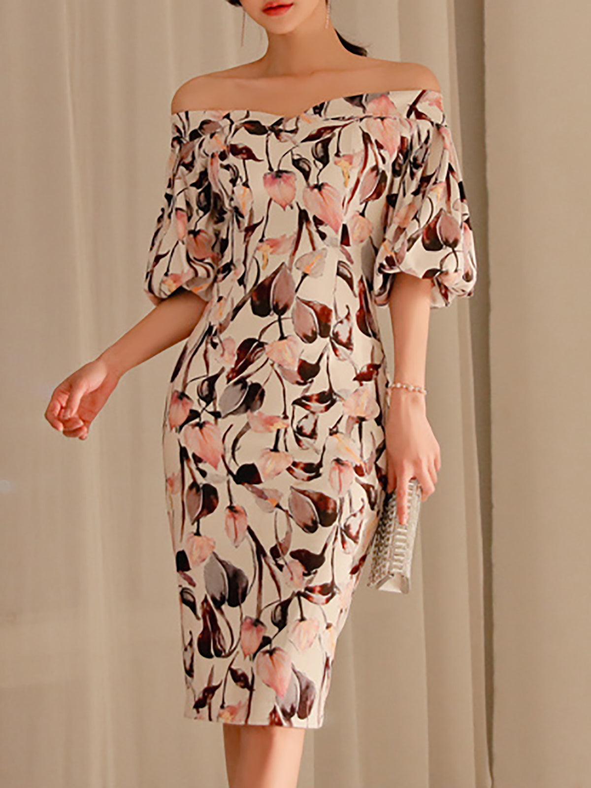 Balloon Sleeve Elegant Floral Midi Dress