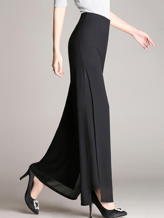 Black Solid Shift Work Chiffon Wide Leg Pants