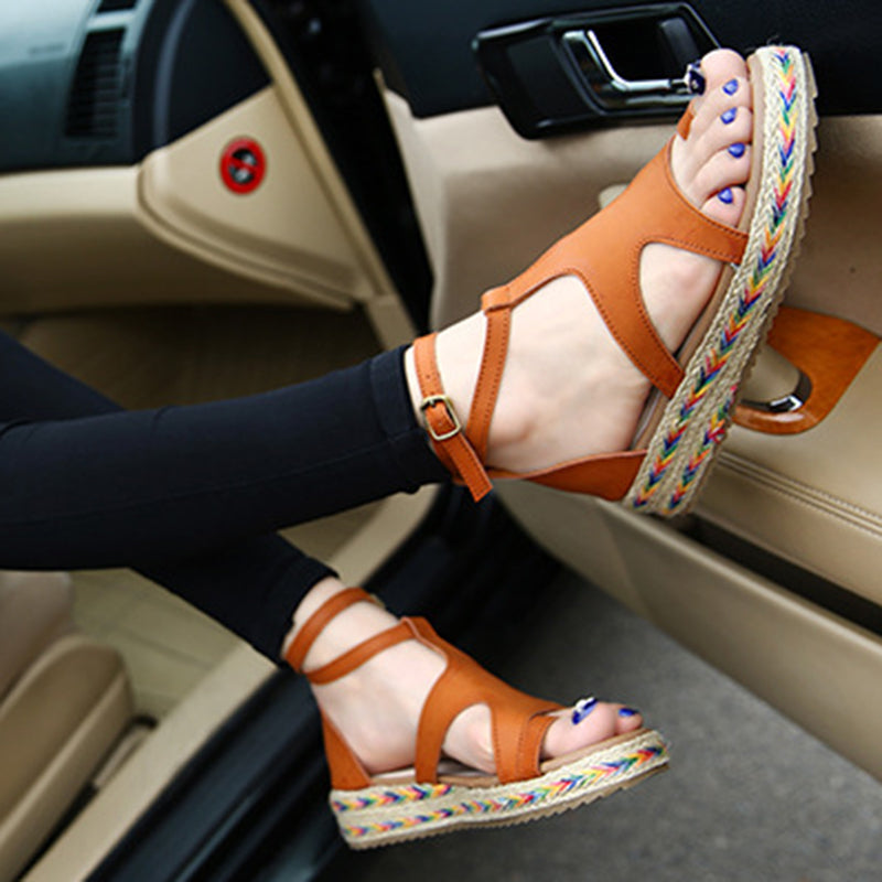 Micro Leather Adjustable Buckle Casual Sandals