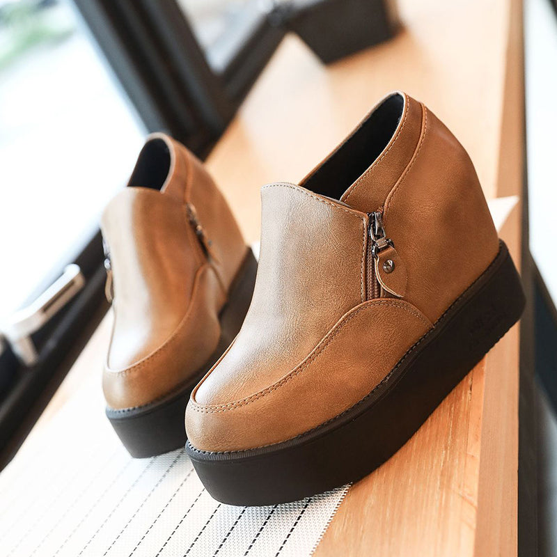 Women PU Wedge Booties Casual Comfort Ankle Shoes