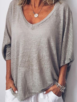 Noracora 3/4 Sleeve V Neck Casual Tops