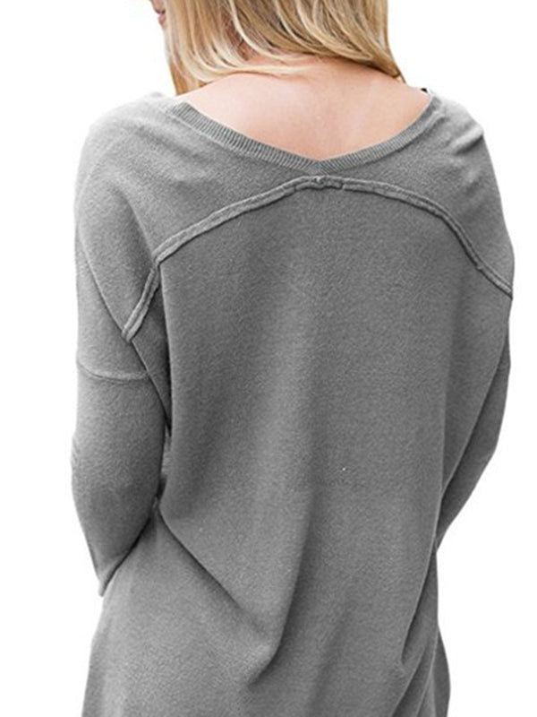 Casual Solid Polyester V-Neck Shirt