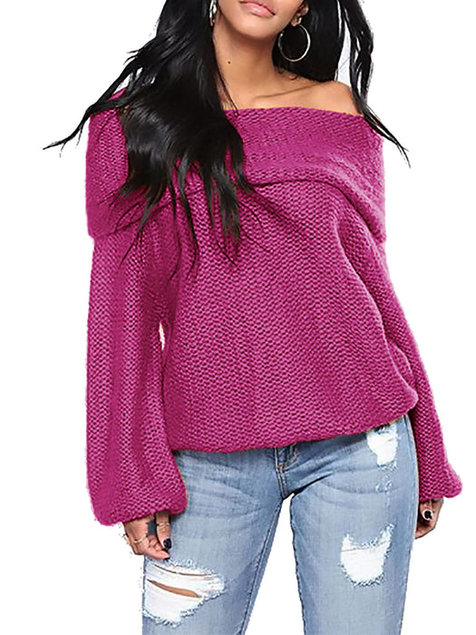 Balloon Sleeve Cold Shoulder Casual Knitted Sweater