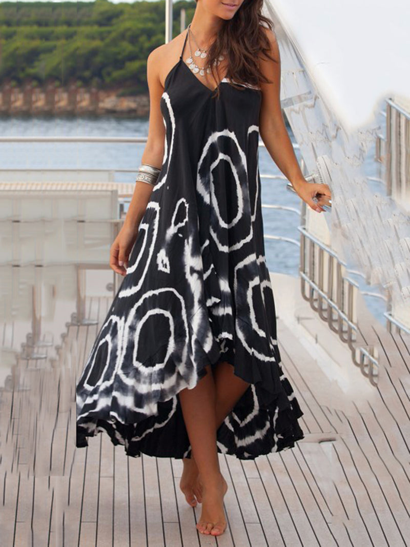 Women Holiday Printed Plus Size Maxi Dress