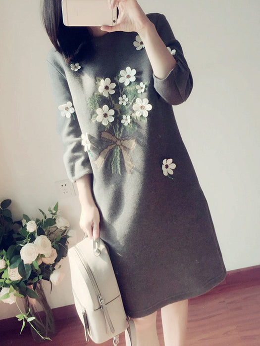 Casual Appliqued Casual Dress