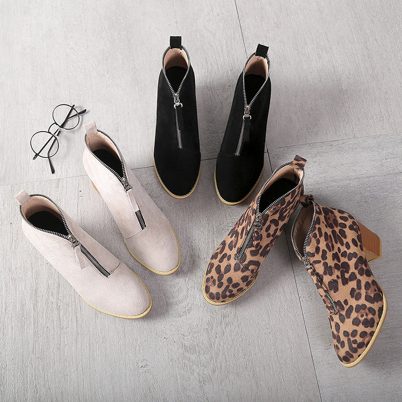 Women Leopard Low Heel Ankle Boots Slip-On Shoes