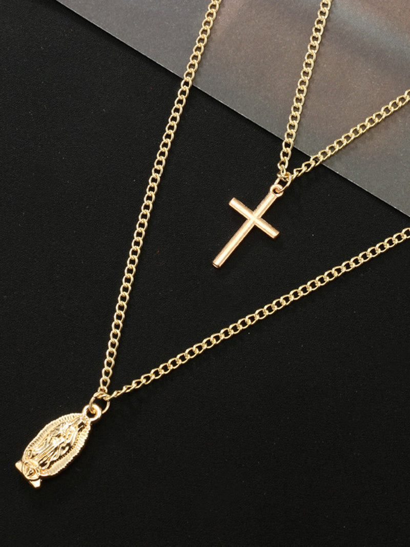 Women Golden Cross Metal Necklaces