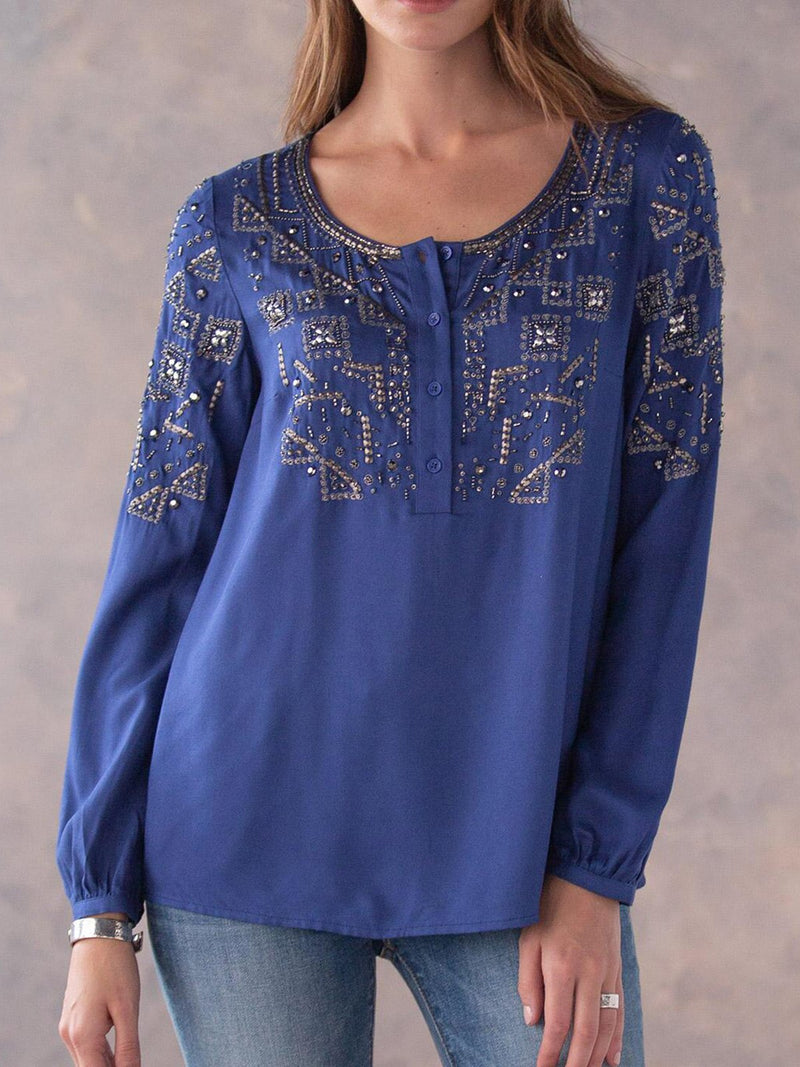 Plain Cotton-Blend Long Sleeve Casual Shirts & Tops