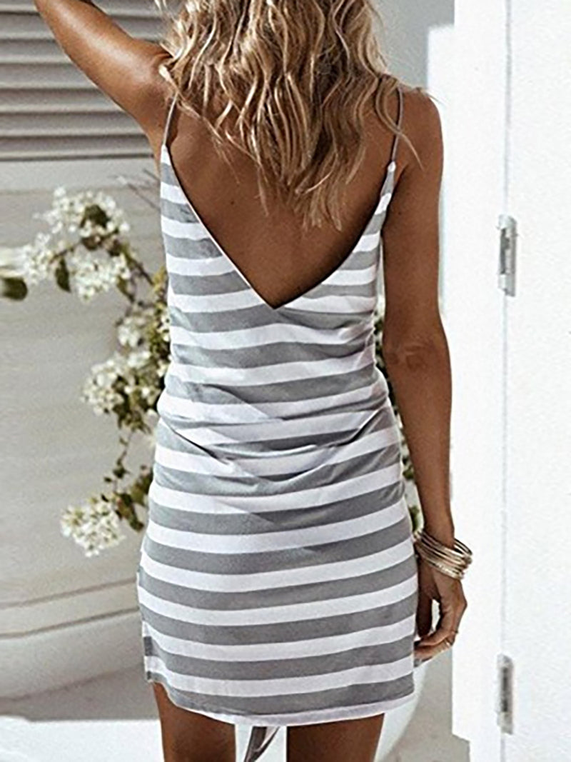 5ca11851 Gray Cotton Casual Striped Sheath Summer Dress – NORACORA