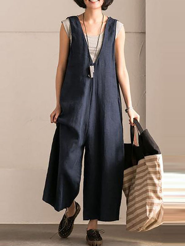 Cotton Solid Sleeveless V neck Jumpsuit