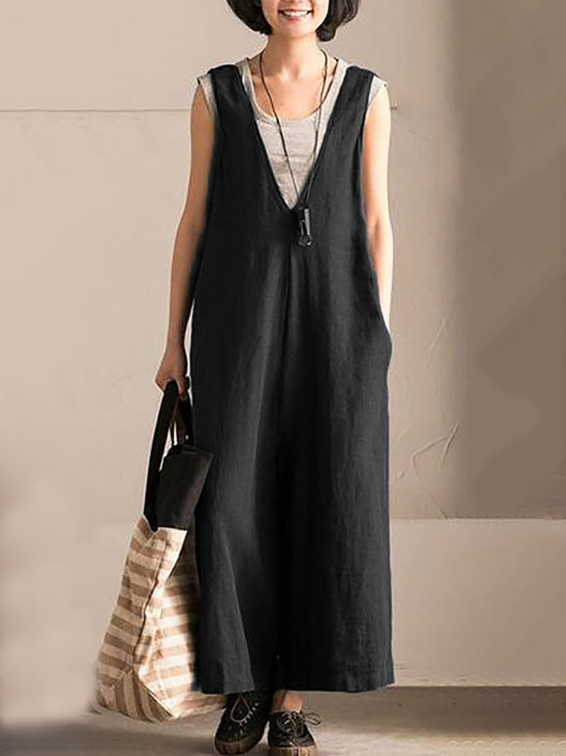 Cotton Solid Sleeveless V neck Jumpsuit Casua Overalls