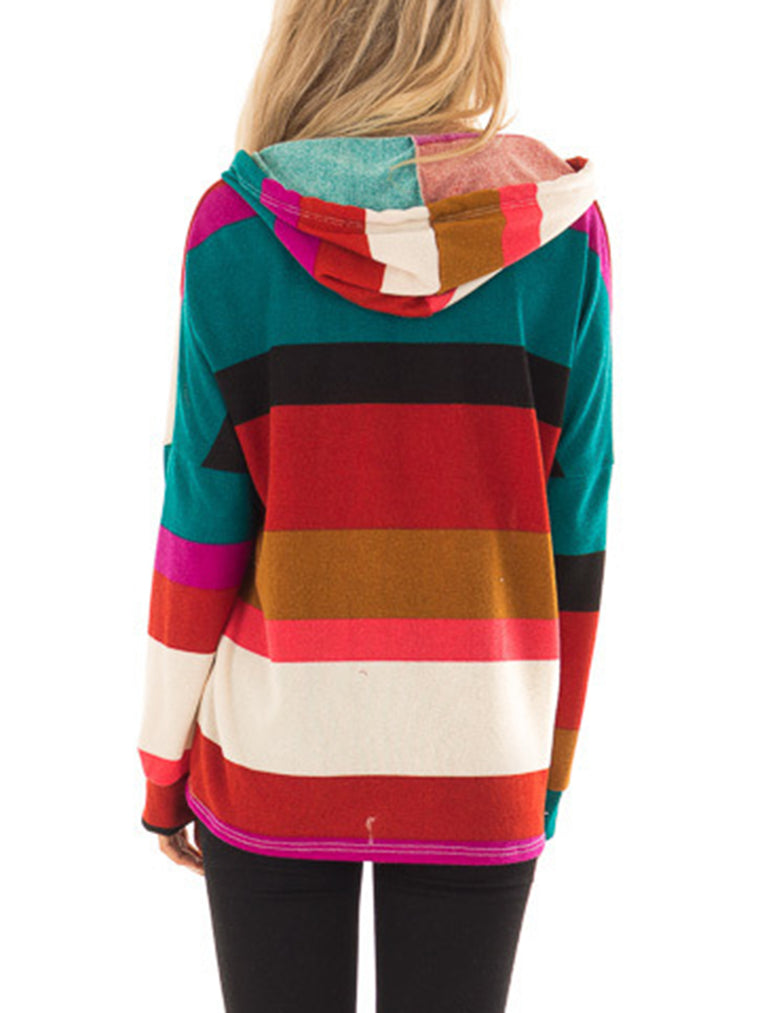 Multicolor Color-Block Stripes Long Sleeve Hoodie Hoodies