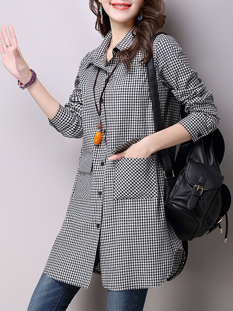 Black A-line Pockets Long Sleeve Checkered/Plaid Tunic Top