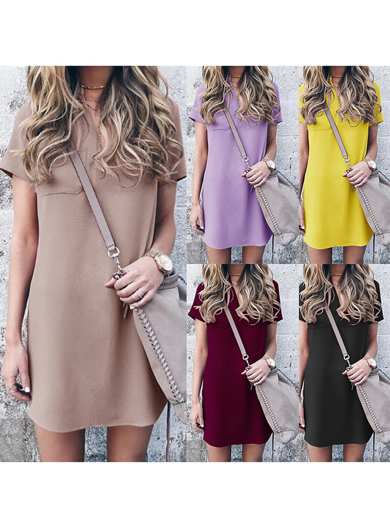Pockets Basic Plain Short Sleeve Casual Dress