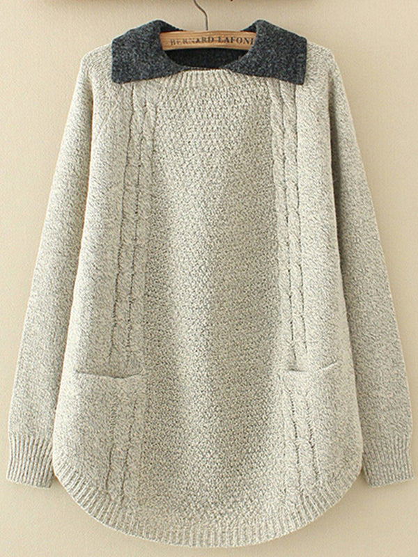 Cotton Solid Pockets Casual Sweater