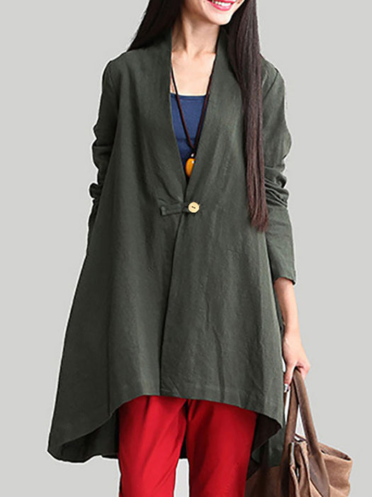 Buttoned Solid Cotton Ponchos & Cape