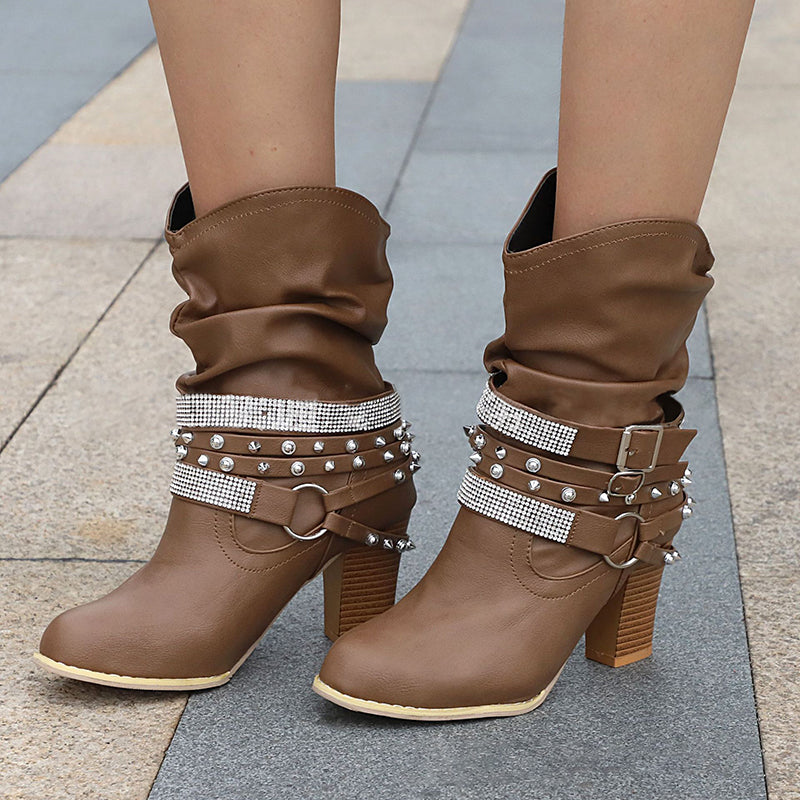 Coffee PU Rivet Daily Boot