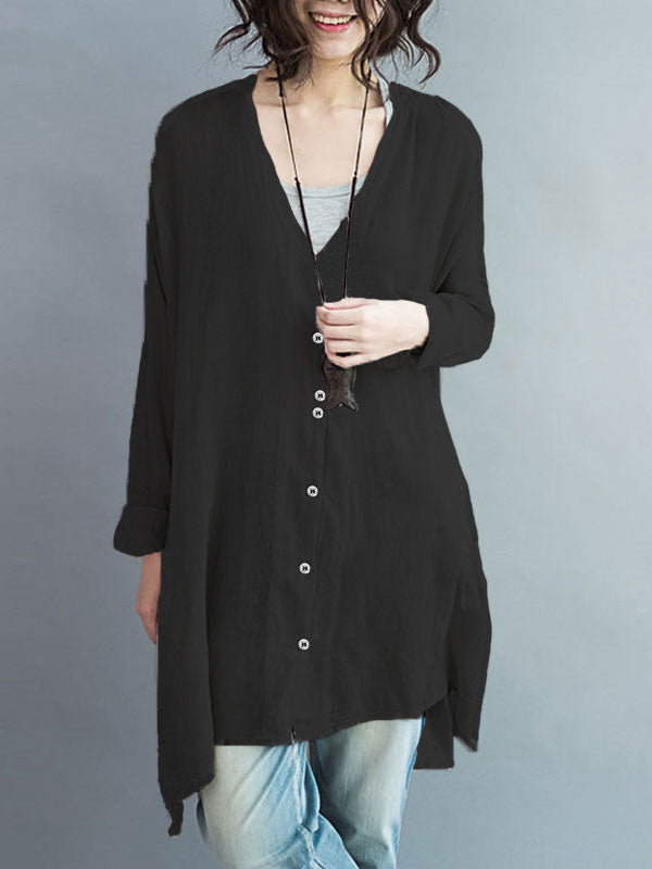 Plus Size Solid Color Casual Blouse