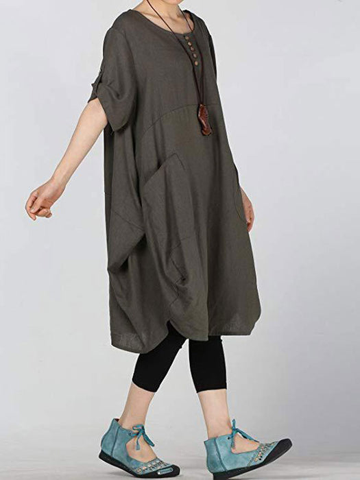 Casual Pockets Plus Size Linen Dress