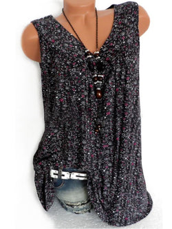 Summer Women Floral V Neck Sleeveless Blouses