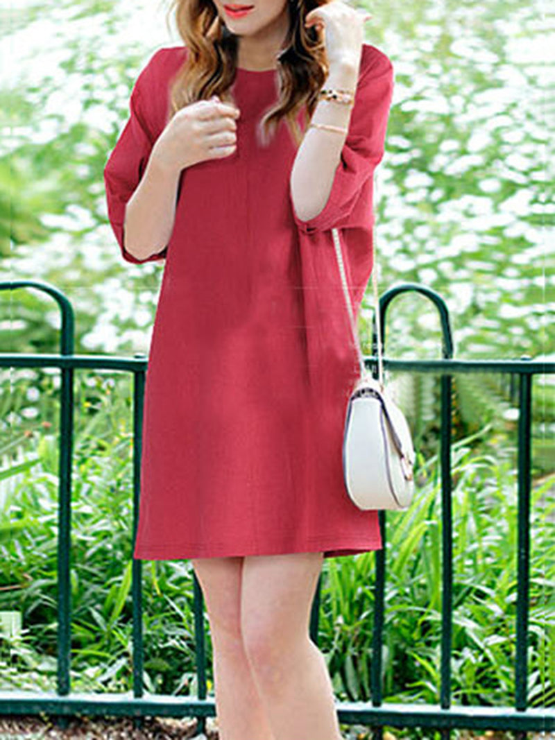 Crew Neck Solid Casual Folds Plus Size Mini Dress