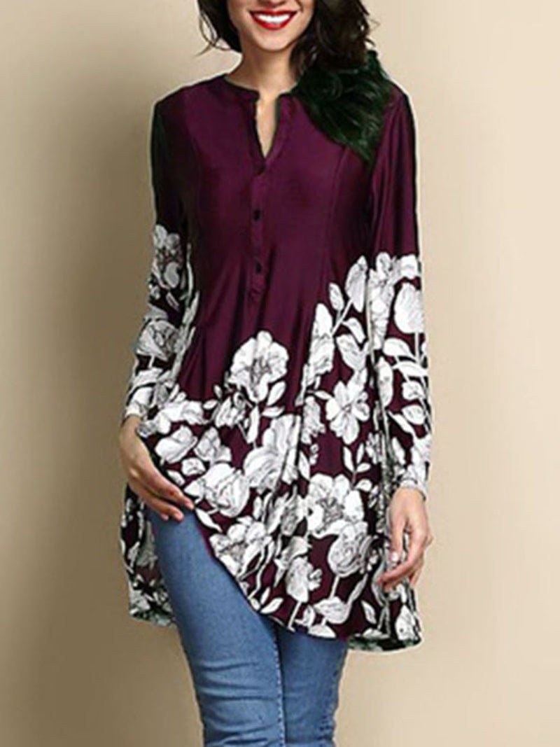 Printed/Dyed Casual Stand Collar Blouse