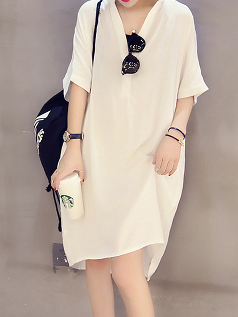 Paneled Simple Shift Solid Dress