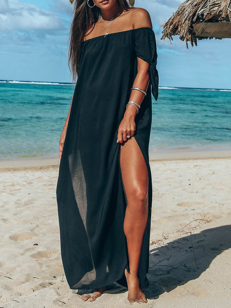 Off Shoulder Solid Boho Slit Short Sleeve Maxi Dress