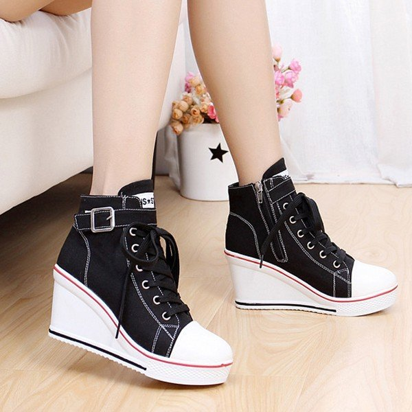 Big Size Canvas Korean Style Lace Up Buckle Wedge Heel Casual Shoes