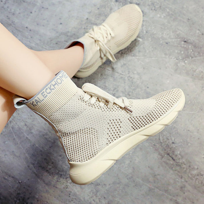 Breathable Low Heel Mesh Lace-up Daily Boots For Women