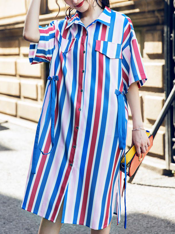 Rainbow Stripes Casual Buttoned Shift Dress