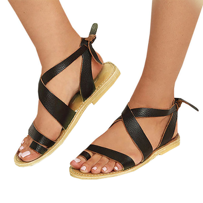 Women Artificial Leather Lace-up Flat Sandals
