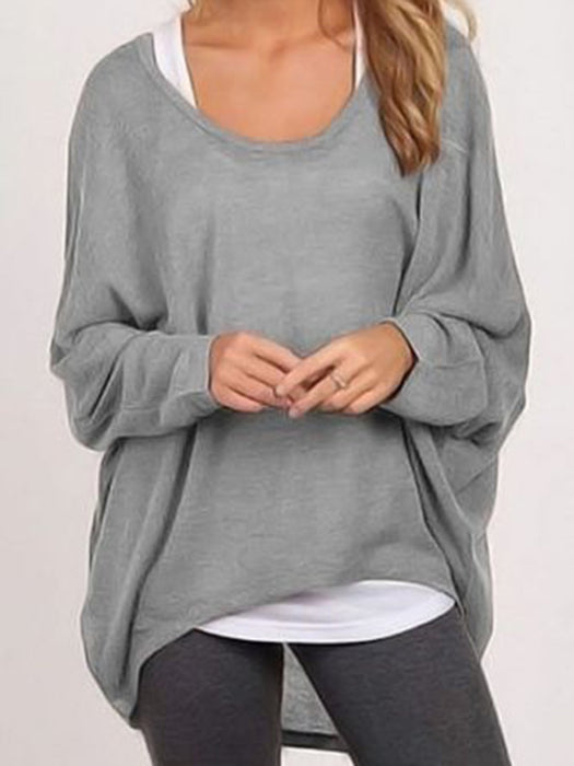 Crew Neck Polyester Asymmetric Casual T-Shirt